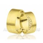 Alianças Escovadas e com Diamantes em Ouro 18k
