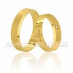 Alianças Diamantadas de Noivado e Casamento em Ouro 18K