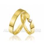 Par de Alianças Finas em Ouro 18k com Diamante