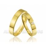 Aliança com Diamante Central Ouro 18k