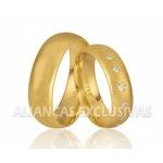 Aliança de Noivado e Casamento em Ouro 18k Anatômicas com Diamantes
