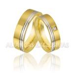 Aliança Bodas com Diamante Ouro 18K (750)