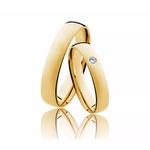 Aliança Diamante em Ouro 18k Meia Cana