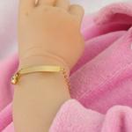 Pulseira Chapa Lisa com Coração em Ouro 18k