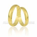 Aliança Fina de Casamento Tradicional em Ouro 10k