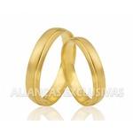 Aliança Diamantada e com Frisos em Ouro 18k