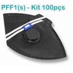 Respirador Descartável Tipo PFF1 (S) Preto Com Válvula - Caixa com 100 un.
