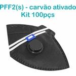 Respirador Descartável Tipo PFF2 (S) Preto Carvão Ativado - Caixa com 100 un.