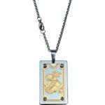 Cordão aço inox com medalha São Jorge retangular