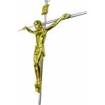 Cruz, Crucifixo De Parede Metal C/ Cristo Dourado E Cruz Aço
