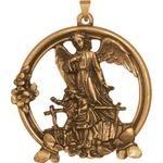 Medalhão de Berço Ouro Velho Vazado