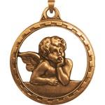 Medalhão de Berço Ouro Velho Anjo