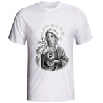 Camiseta Sagrado Coração de Maria Preto e Branco