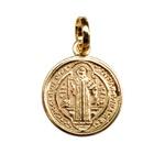 Medalha Folhada à Ouro São Bento 15mm