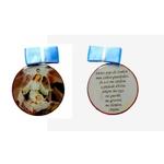 Medalhão de Berço Madeira Strass com Fita