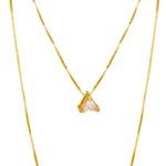 Pingente Ponto de Luz Triângulo Semijoia Banho de Ouro 18K e Zircônia