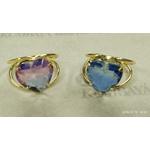 Anel Coração Rainbow Semijoia Banho de Ouro 18k Zircônia Azul e Branca Duo