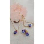 Pingente com Corrente Gota Rainbow Semijoia Banho de Ouro 18k Cristal Lilás Duo