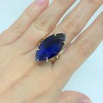 Anel Navete Semijoia Banho de Ouro 18K Cristal Azul