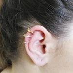 Brinco Piercing de Pressão Ear Hook Semijoia Banho de Ouro 18K