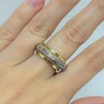 Anel Venice Saturno Semijoia Banho de Ouro 18k Cravação de Zircônia Detalhe em Ródio