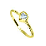 Anel Solitário Coração Semijoia Banho de Ouro 18K Cravação de Zircônia Aro Trançado