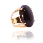 Anel Pedra Oval Semijoia Banho de Ouro 18K Ônix Natural