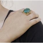 Anel Pedra Oval Semijoia Banho de Ouro 18K Jade Verde Natural