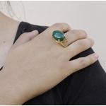Anel Pedra Oval Semijoia Banho de Ouro 18K Jade Verde Natural com Zircônias