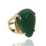 Anel Pedra Gota Semijoia Banho de Ouro 18K Jade Verde Natural com Zircônias Laterais