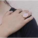 Anel Redondo Semijoia Banho De Ouro 18k Quartzo Rosa Ajustável