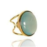 Anel Redondo Semijoia Banho De Ouro 18k Pedra Ágata Azul Ajustável
