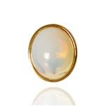 Anel Redondo Semijoia Banho De Ouro 18k Pedra Da Lua Ajustável