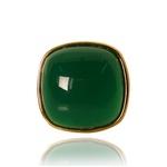 Anel Quadrado Semijoia Banho De Ouro 18k Ágata Verde Ajustável