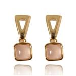 Brinco Pedra Quadrada Semijoia Banho De Ouro 18k Quartzo Rosa e Base Triangular Vazada