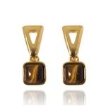 Brinco Pedra Quadrada Semijoia Banho De Ouro 18k Olho De Tigre e Base Triangular Vazada