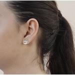 """Brinco Estilo """"Chanel"""" Semijoia Banho de Ouro 18K Zircônia incolor"""