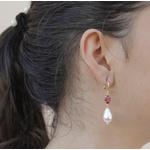 Brinco Gota Irregular Semijoia Banho De Ouro 18k Pérola e Cristal Vermelho Rubi