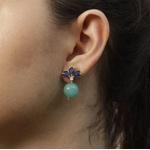 Brinco Flor De Cristal Azul e Bola Raquel Schiavon Semijoia Banho De Ouro 18k Jade Verde e Zircônia