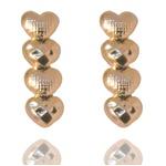 Brinco Ear Cuff Coração Semijoia Banho De Ouro 18k