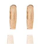 Brinco Argola Oval Semijoia Banho De Ouro 18k Com Texturas De Bolinhas