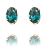 Brinco Oval Semijoia Banho De Ouro 18k Zirconia Verde Esmeralda