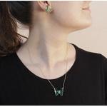 Conjunto Borboleta Semijoia Banho de Ouro 18K Zircônia Verde