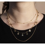 Colar De Trio Com Estrelas Semijoia Banho De Ouro 18k e Bolinhas