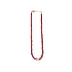 Colar Chocker Pedra Natural Semijoia Banho de Ouro 18K Cristal Vinho e Pérola