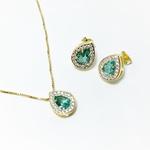 Brinco Gota Pequeno Semijoia Banho de Ouro 18K Cristal Turmalina Paraíba Cravação de Zircônia Detalhe em Ródio