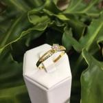 Anel Solitário Chuveiro Semijoia Banho de Ouro 18K Cravação de Zircônia Detalhe em Ródio