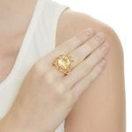 Anel Flor Semijoia Banho de Ouro 18k Cristal Amarelo