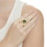 Anel Oval Semijoia Banho de Ouro 18k Cristal Verde Esmeralda