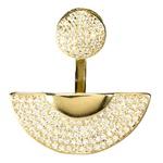 Anel Meia Lua Semijoia Banho de Ouro 18k Cravejado com Zircônias
